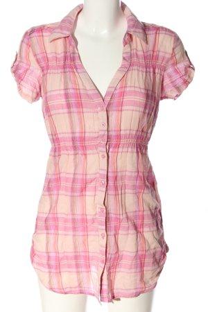 Tally Weijl Camisa de manga corta rosa-crema estampado a cuadros look casual