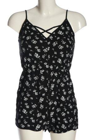 Tally Weijl Kurzer Jumpsuit schwarz-weiß Blumenmuster Casual-Look