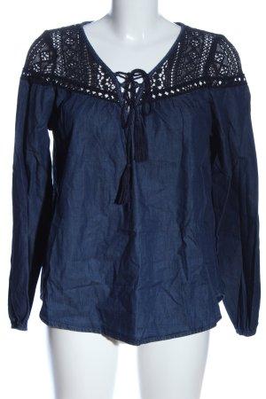 Tally Weijl Langarm-Bluse blau Webmuster Casual-Look