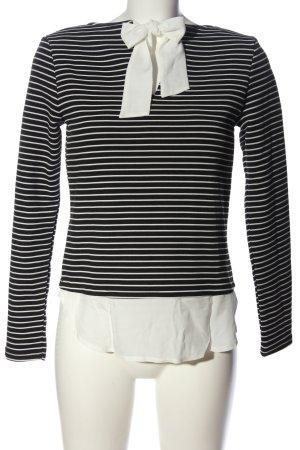 Tally Weijl Langarm-Bluse schwarz-weiß Streifenmuster Casual-Look