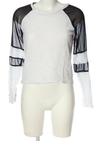 Tally Weijl Langarm-Bluse weiß-schwarz Casual-Look