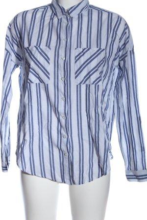 Tally Weijl Langarmhemd weiß-blau Streifenmuster Business-Look