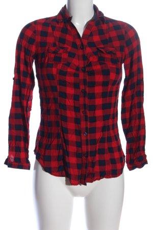 Tally Weijl Langarmhemd rot-blau Karomuster Casual-Look