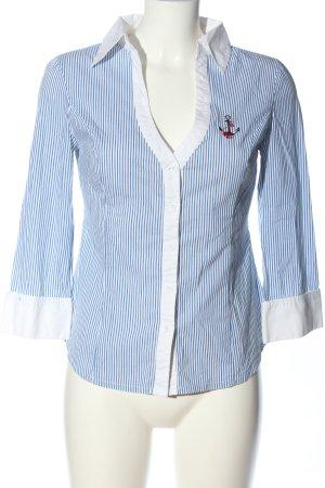Tally Weijl Langarmhemd blau-weiß Allover-Druck Business-Look