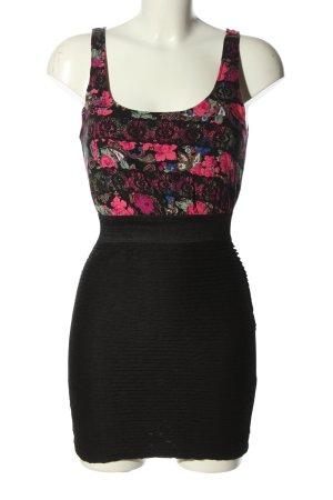 Tally Weijl Minikleid schwarz-pink Blumenmuster Casual-Look