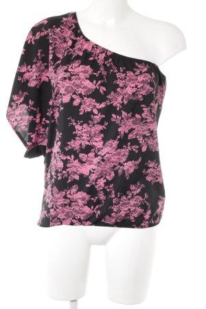 Tally Weijl One-Shoulder-Shirt schwarz-pink Casual-Look