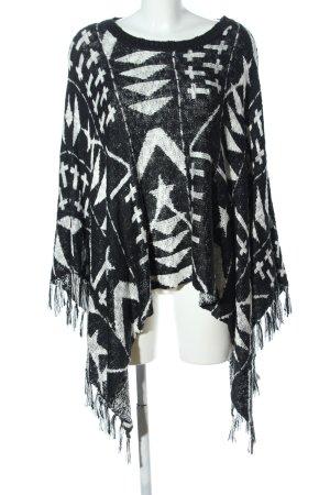 Tally Weijl Poncho schwarz-weiß grafisches Muster Casual-Look