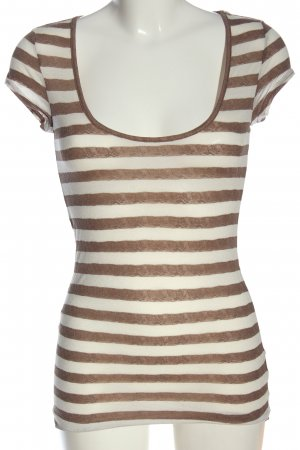 Tally Weijl T-shirt rayé brun-blanc cassé motif rayé style décontracté