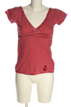 Tally Weijl Ringelshirt rot-weiß Streifenmuster Casual-Look