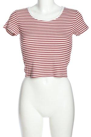 Tally Weijl Prążkowana koszulka biały-czerwony Na całej powierzchni