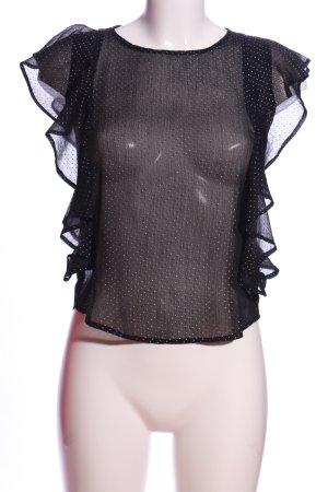 Tally Weijl Camicetta con arricciature nero-bianco motivo a pallini stile casual