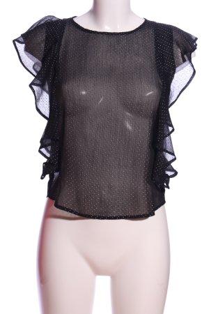 Tally Weijl Rüschen-Bluse schwarz-weiß Punktemuster Casual-Look