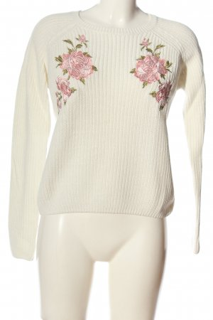 Tally Weijl Rundhalspullover weiß-pink Blumenmuster Casual-Look