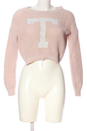 Tally Weijl Rundhalspullover pink-weiß Schriftzug gedruckt Casual-Look
