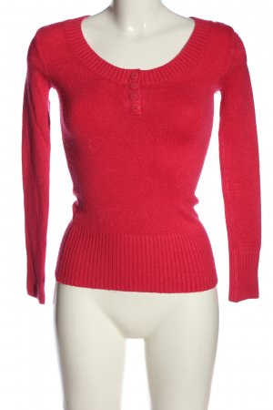 Tally Weijl Rundhalspullover rot Zopfmuster Casual-Look