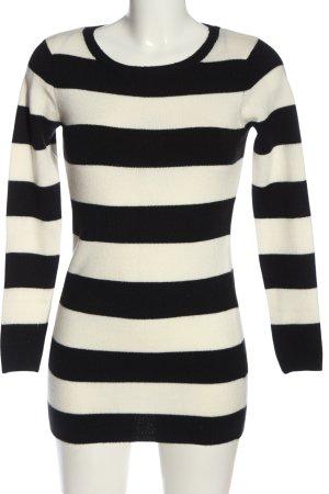 Tally Weijl Rundhalspullover weiß-schwarz Streifenmuster Casual-Look