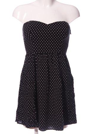 Tally Weijl schulterfreies Kleid schwarz-weiß Punktemuster Casual-Look