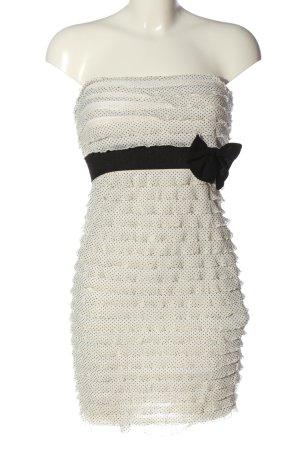 Tally Weijl Robe épaules nues blanc cassé-noir imprimé allover élégant
