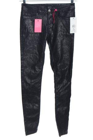 Tally Weijl Skinny Jeans schwarz Allover-Druck Glanz-Optik