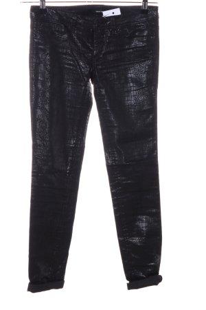 Tally Weijl Skinny Jeans schwarz Animalmuster Glanz-Optik