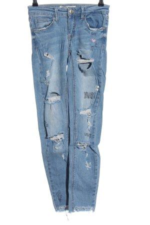 Tally Weijl Skinny Jeans blau Schriftzug gedruckt Casual-Look