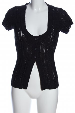 Tally Weijl Strick Cardigan schwarz Zopfmuster Casual-Look