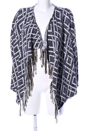 Tally Weijl Strick Cardigan schwarz-weiß grafisches Muster Casual-Look