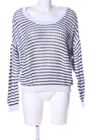 Tally Weijl Strickpullover weiß-schwarz Streifenmuster Casual-Look