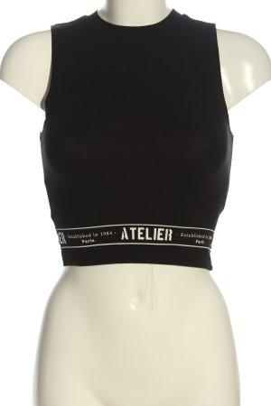 Tally Weijl Top z dzianiny czarny Wydrukowane logo W stylu casual