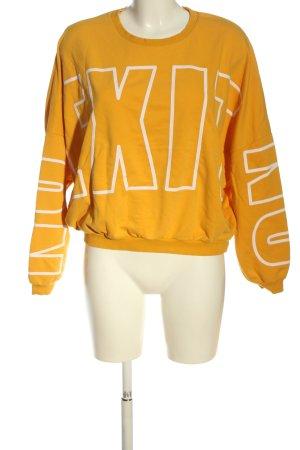 Tally Weijl Suéter naranja claro-blanco letras impresas look casual