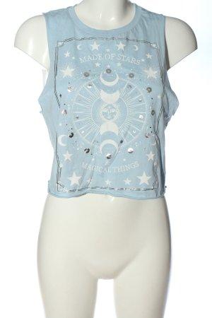 Tally Weijl Tanktop blau-weiß Motivdruck Casual-Look