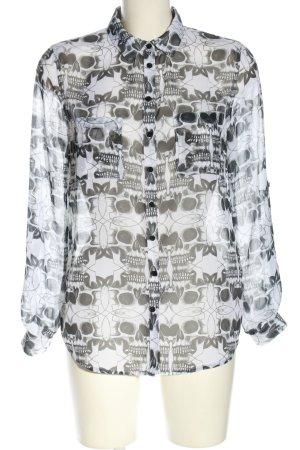 Tally Weijl Transparenz-Bluse schwarz-weiß Allover-Druck Business-Look