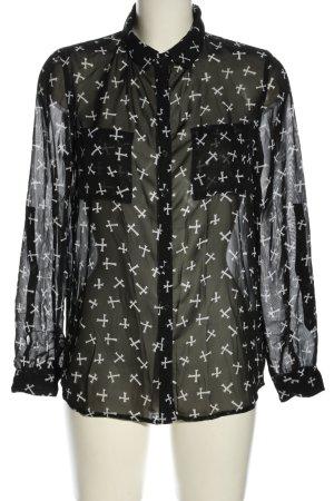 Tally Weijl Blouse transparente noir-blanc motif abstrait style extravagant