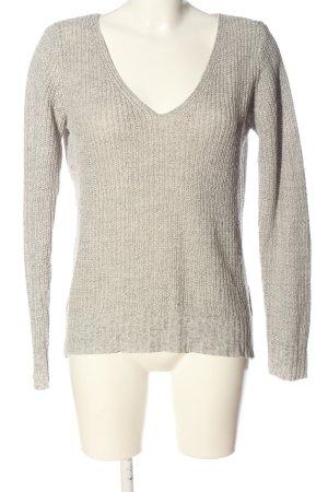 Tally Weijl V-Ausschnitt-Pullover hellgrau Zopfmuster Casual-Look