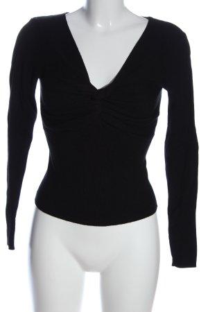 Tally Weijl V-Ausschnitt-Pullover schwarz Casual-Look