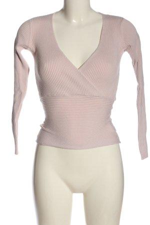 Tally Weijl V-Ausschnitt-Pullover pink Streifenmuster Casual-Look