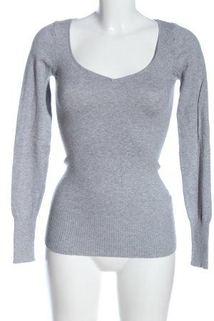 Tally Weijl V-Ausschnitt-Pullover hellgrau meliert Casual-Look