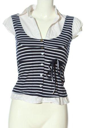 Tally Weijl V-Ausschnitt-Shirt weiß-blau Streifenmuster Casual-Look