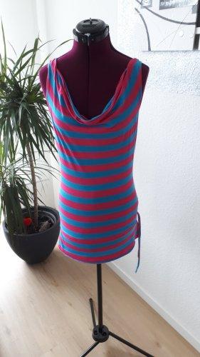 Tally Weijl Koszulka z dekoltem woda różowy neonowy-niebieski neonowy
