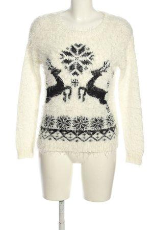 Tally Weijl Sudadera navideña blanco-negro estampado temático look casual