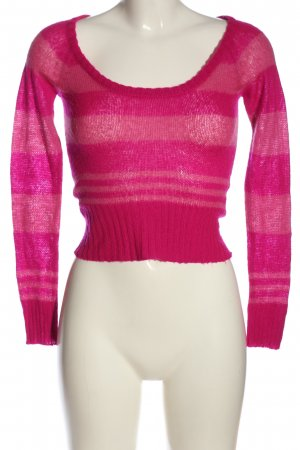 Tally Weijl Cropped Pullover pink Streifenmuster Casual-Look