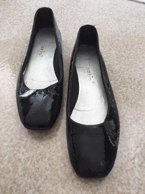 Tamaris Bailarinas de charol con tacón negro