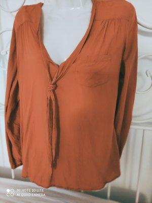 Tamaris Camicetta a maniche lunghe arancione scuro Tessuto misto