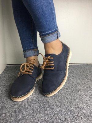 Tamaris Budapester Schuhe Sneaker Schür Wildeder blau braun 37