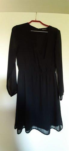 Tamaris Chiffon-Kleid mit Wickelausschnitt lange transparente Ärmel schwarz Gr. 36