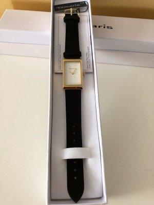 Tamaris Damen Uhr schwarz Gold Leder Neu