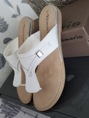 Tamaris Toe-Post sandals natural white leather