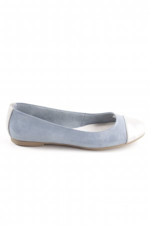 Tamaris faltbare Ballerinas blau-silber Leder Casual-Look