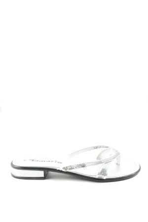 Tamaris Chanclas color plata-negro look casual