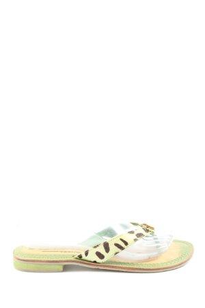 Tamaris Flip-Flop Sandals green animal pattern casual look